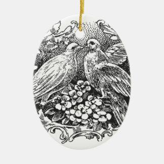 vintage lovebirds design typography ceramic oval decoration
