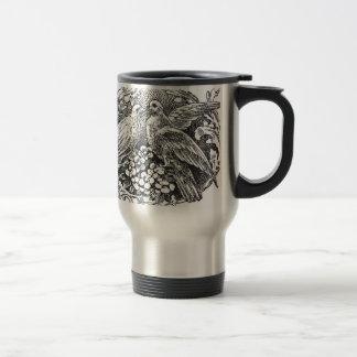 vintage lovebirds design typography travel mug