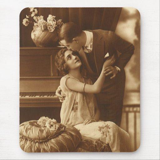Vintage Lovers,  Love Romance Romantic Music Mouse Pads
