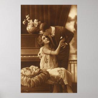 Vintage Lovers Love Romance Romantic Music Print
