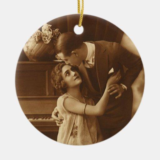Vintage Lovers,  Love Romance Romantic Music Round Ceramic Decoration