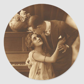 Vintage Lovers,  Love Romance Romantic Music Round Sticker