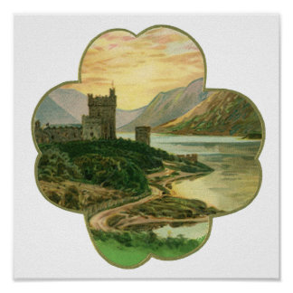 Vintage Lucky Gold Shamrock with an Irish Castle Poster
