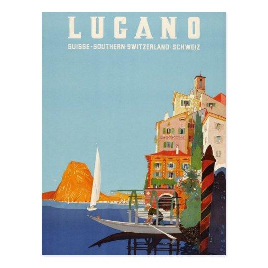 Vintage Lugano Italian Resort Switzerland Postcard