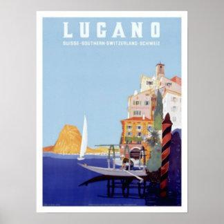 Vintage Lugano Switzerland Travel Print