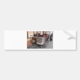 Vintage luggage and wicker basket - Range Bumper Sticker