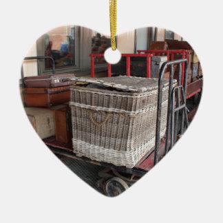 Vintage luggage and wicker basket - Range Ceramic Heart Decoration