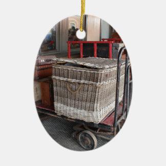 Vintage luggage and wicker basket - Range Christmas Ornament