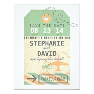 Vintage Luggage Tag Destination Wedding Save Date 11 Cm X 14 Cm Invitation Card