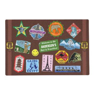 Vintage Luggage World Travel Suitcase Sticker Name Laminated Place Mat