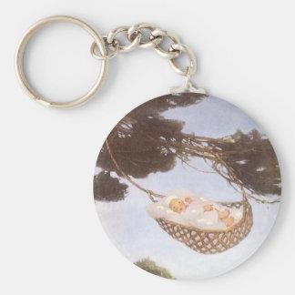 Vintage Lullaby, Rock Bye Baby Jesse Willcox Smith Basic Round Button Key Ring