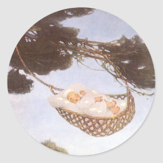 Vintage Lullaby, Rock Bye Baby Jesse Willcox Smith Round Sticker