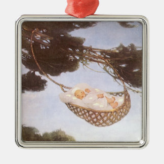 Vintage Lullaby, Rock Bye Baby Jesse Willcox Smith Silver-Colored Square Decoration