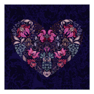 Vintage luxury design. Heart stylish pattern Poster