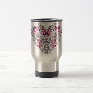 Vintage luxury design. Heart stylish pattern Travel Mug