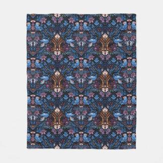 Vintage luxury floral garden blue bird lux pattern fleece blanket