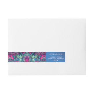 Vintage luxury floral garden blue bird lux pattern wraparound address label