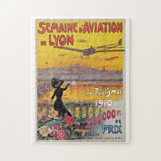 Vintage Lyon Aviation Week Travel Ad Jigsaw Puzzle