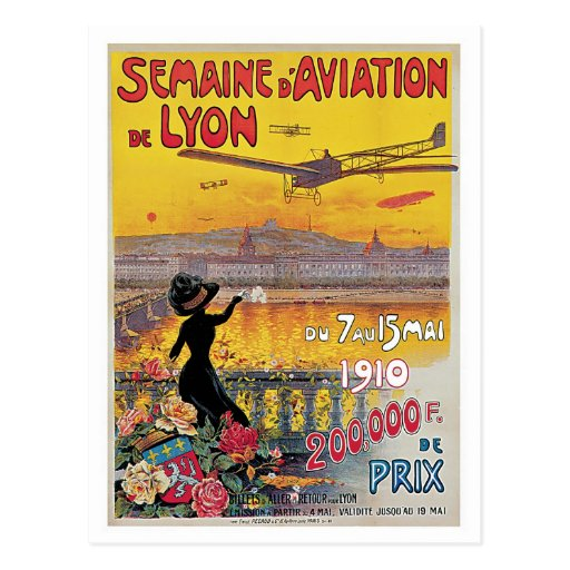 Vintage Lyon Aviation Week Travel Ad Post Card