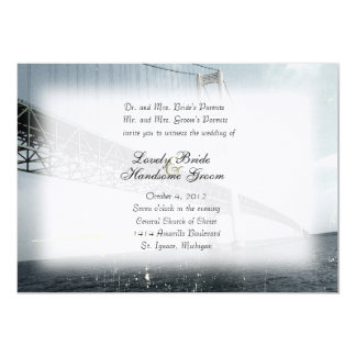 Vintage Mackinac Bridge Blue Wedding Invitation