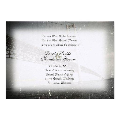 Vintage Mackinac Bridge Gray Wedding Invitation