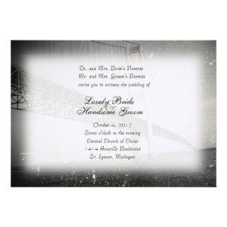 Vintage Mackinac Bridge Grey Wedding Invitation