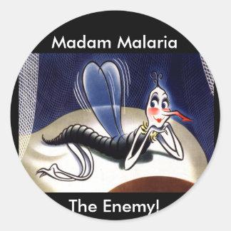 Vintage Madam Malaria Mosquito Classic Round Sticker