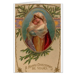 Vintage Madonna And Child Christmas Greeting Card
