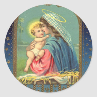 Vintage Madonna and Child Christmas Round Sticker