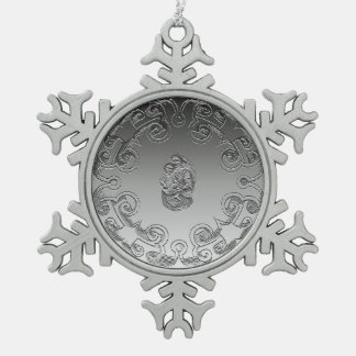 Vintage Madonna and Child Snowflake Pewter Christmas Ornament