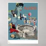 Vintage Madrid Spain Airline Travel Poster