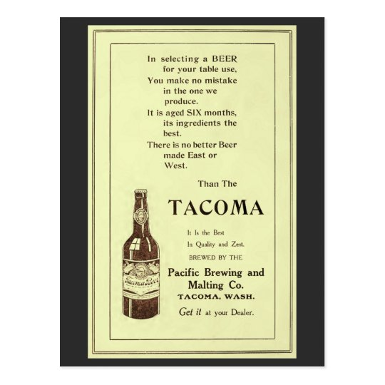 Vintage magazine ad Tacoma table beer Postcard