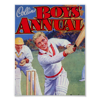 Vintage Magazine Boys Playing Cricket Poster