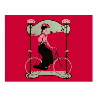 Vintage Magenta Bicycle Woman Antique Bike Nouveau Postcard