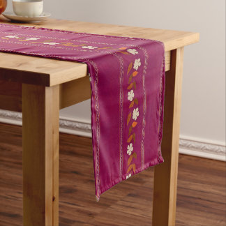 Vintage Magenta Embroidery Flowers Table Runner