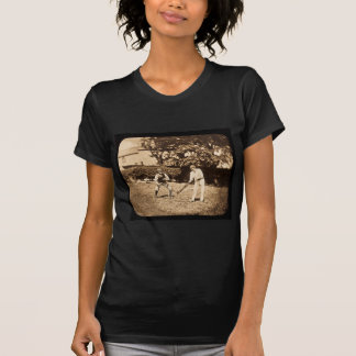 Vintage Magic Lantern Slide Cricket Players Sepia T-Shirt