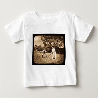 Vintage Magic Lantern Slide Cricket Players Sepia T Shirt