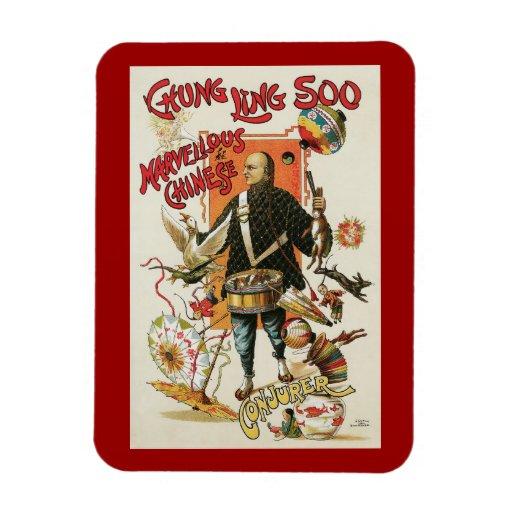 Vintage Magic Poster; Magician Chung Ling Soo Magnets