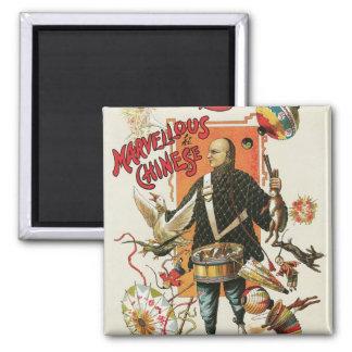 Vintage Magic Poster, Magician Chung Ling Soo Square Magnet