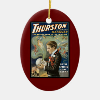 Vintage Magic Poster, Thurston, The Great Magician Ceramic Oval Decoration