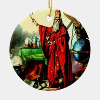 Vintage Magic Wizard Merlin Fate Litho Label Art Christmas Ornament