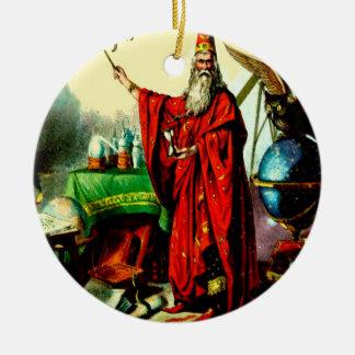 Vintage Magic Wizard Merlin Fate Litho Label Art Round Ceramic Decoration