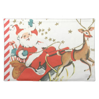 Vintage Magical Christmas Santa Claus and Stars Placemat