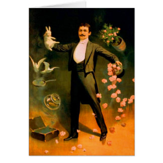 Vintage Magician Rabbits Roses Doves Magic Tricks Card