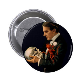 Vintage Magician Thurston holding a Human Skull 6 Cm Round Badge