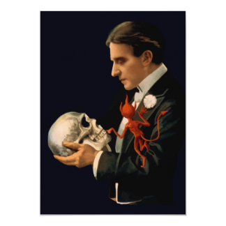 Vintage Magician, Thurston Holding a Human Skull Card