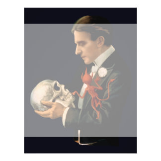 Vintage Magician Thurston holding a Human Skull Personalized Flyer