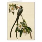 Vintage Magnolia Floral Bird Flycatcher Blank Card