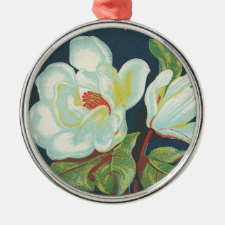 Vintage Magnolia Flower Silver-Colored Round Decoration