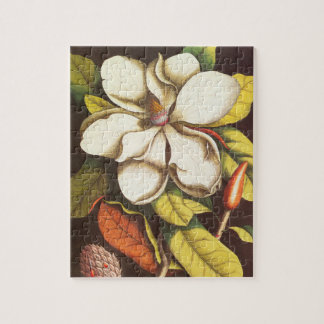 Vintage Magnolia Flowers Plant With Seeds Jigsaw Puzzle